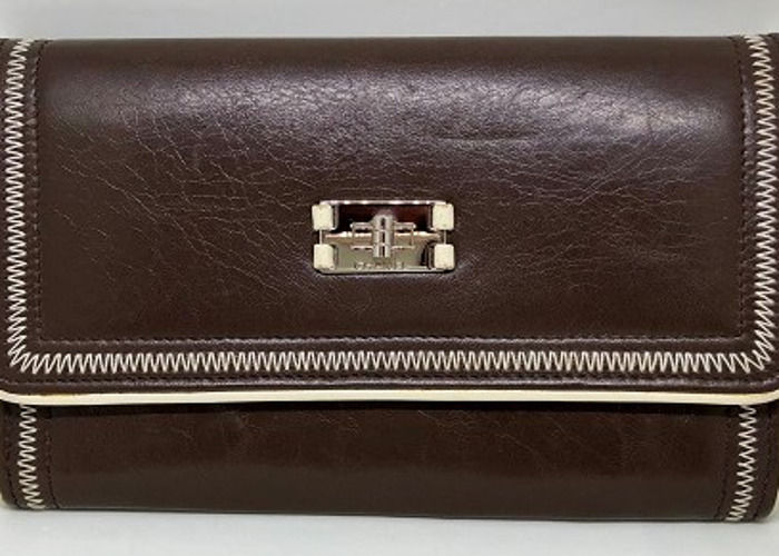 Chanel: Brown wallet with white stitching & edging - 1