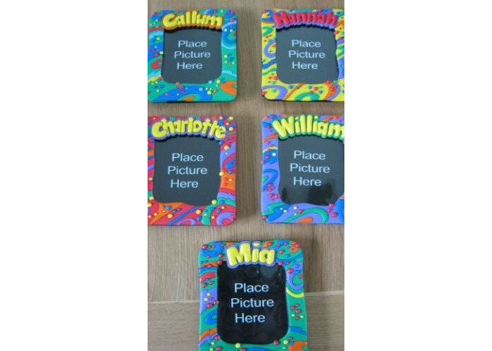 Childrens Named Photo Image 14 x 12 cm Bright and Funky Colour Splash Round Edges