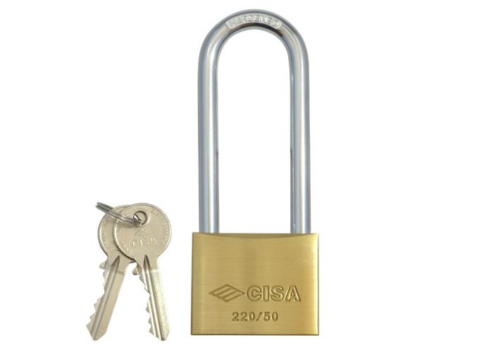 CISA 22011 KD Long Shackle Brass Padlock - 50mm KD  - 1