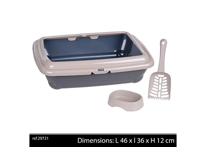 """Click & Secure Basic Large Cat Litter Tray 45 x 35cm/18 x 14"""", Flat & Deep Rectangular Litter Box Loo with Rim, Kitty Litter Scoop and Food/Water Bowl Designed & Made in Italy for Adult Cats Taupe - 1"""