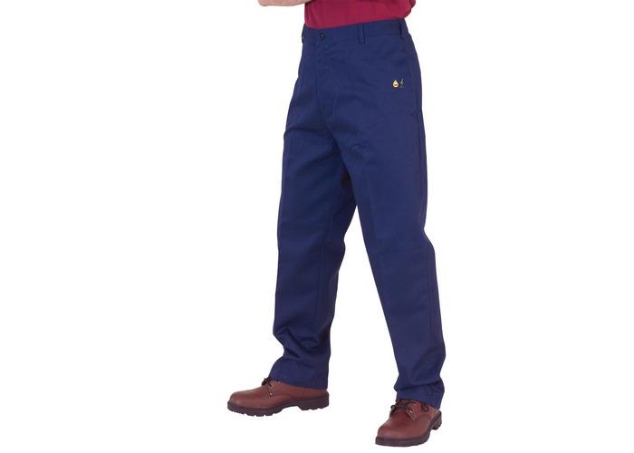 "Click CFRASTRSN40 Flame Retardant Anti Static Trousers Navy Blue 40"" Waist Standard Leg - 1"