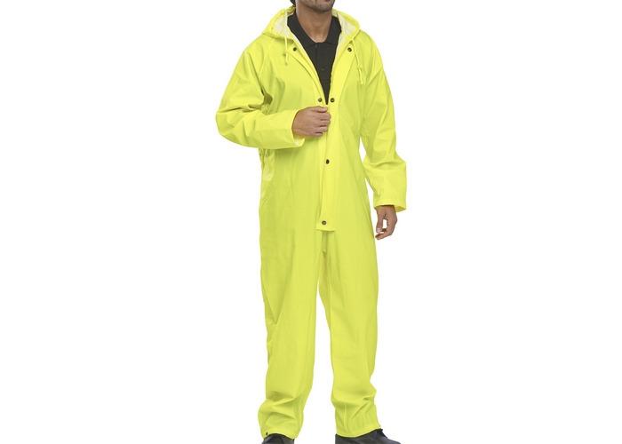 Click NBDCSYXL Nylon Waterproof Coverall With Hood Satin Yellow XL - 1
