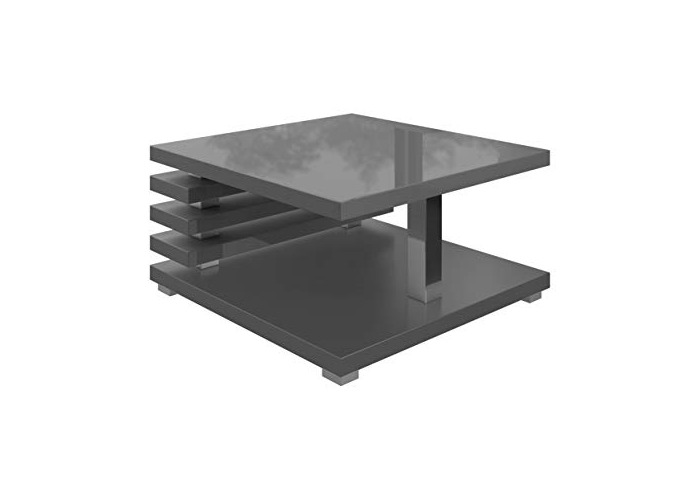 Coffee Table living room Oslo 60 x 60 cm Matte Grey with High Gloss Top - 1