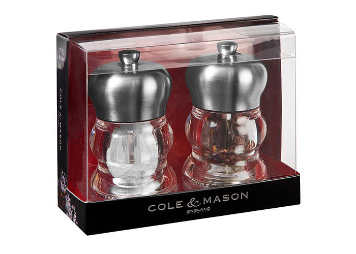 Cole & Mason H307098P Precision Ascot Salt and Pepper Gift Set, Transparent/Silver - 2