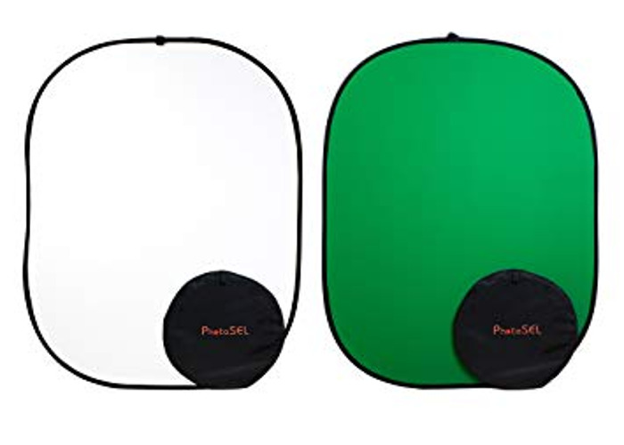 Collapsible Chroma Key Green and White Screen Backdrop - 1