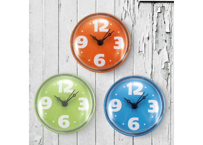 Colorful Bathroom Clock Glass Tile Wall Window Mirror Waterproof Clock With Sucker - 1
