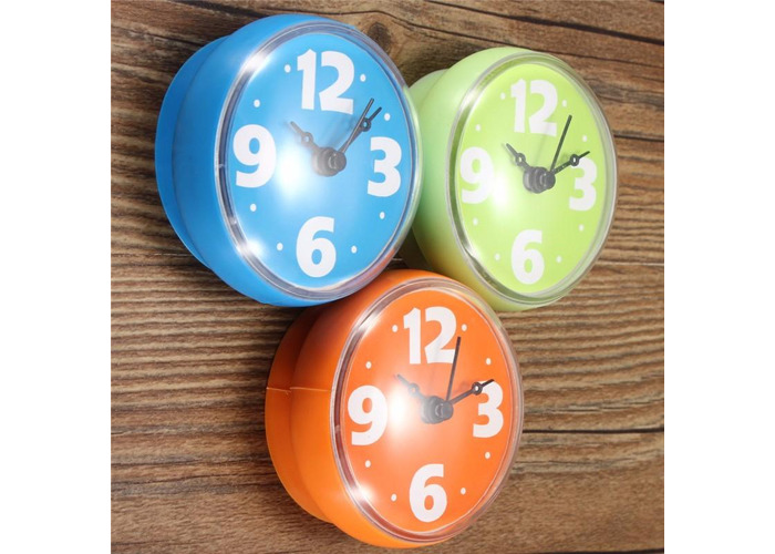 Colorful Bathroom Clock Glass Tile Wall Window Mirror Waterproof Clock With Sucker - 2