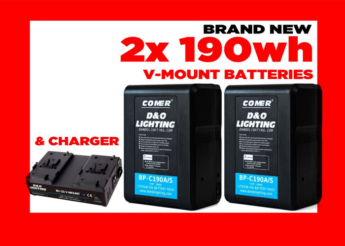 2x 190wh V-Mount Battery w/Charger (& gold mount adapter) - 1