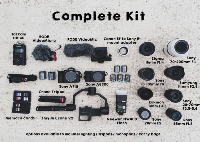 Complete Video Kit: Sony Cameras + Lenses + Crane + Audio - 1