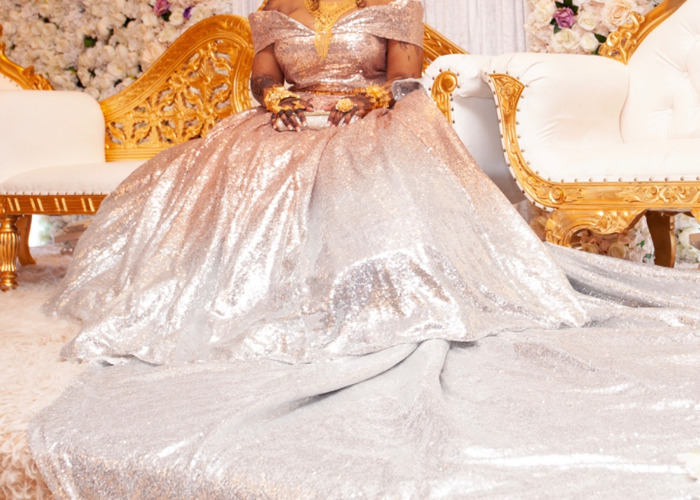 Copper and silver ombré sequin ball gown  - 1