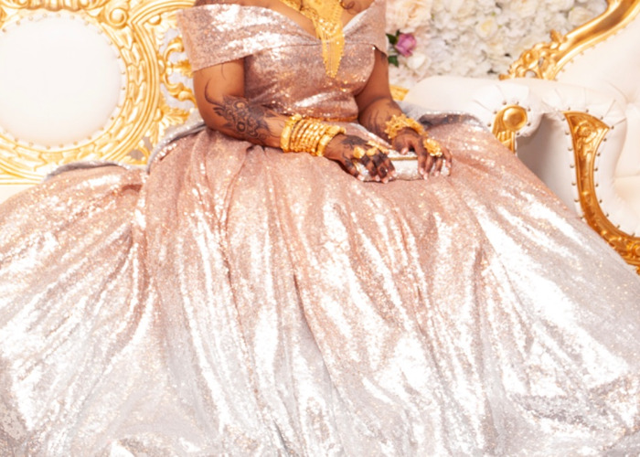 Copper and silver ombré sequin ball gown  - 2
