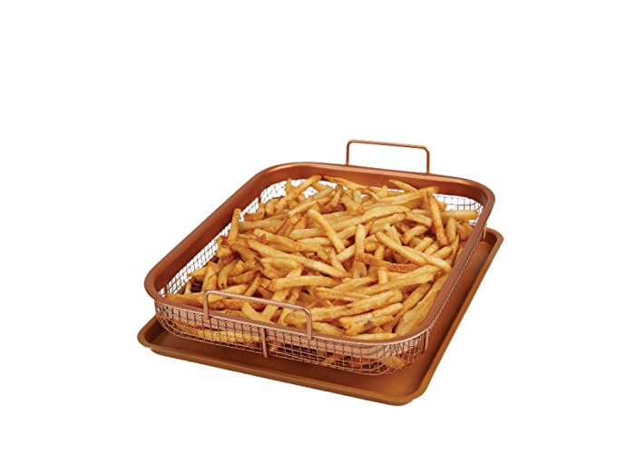 Copper Chef Copper Crisper Non-Stick Oven Baking Tray with Crisping Basket, 2 Piece Set - 1