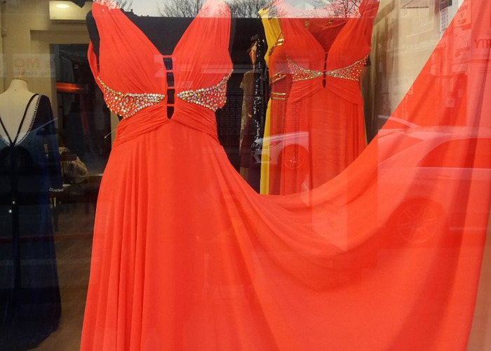Coral red chiffon dress,blinged out breast support - 1