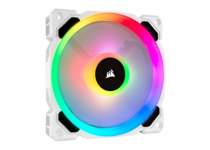 Corsair LL120 12cm PWM RGB Case Fan, 16 LED RGB Dual Light Loop, Hydraulic Bearing, White - 1