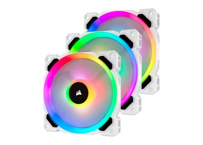 Corsair LL120 12cm PWM RGB Case Fan x3, 16 LED RGB Dual Light Loop, Hydraulic Bearing, White, 3 Pack - 1