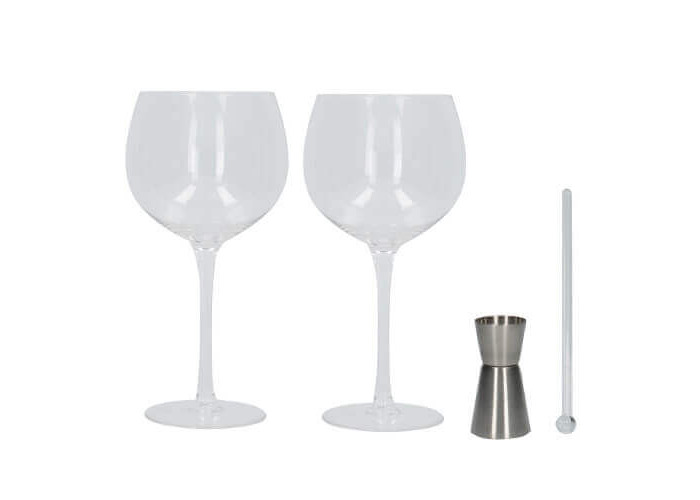 Creative Tops Ava & I Gin Glass Gift Set (Set of 2 Balloon Glasses with Stirrer and Jigger) - 1