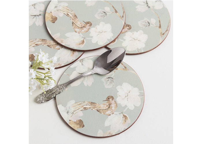 Creative Tops Duck Egg Floral Bird Cork-Back Premium Round Placemats, Set of 4 - 2