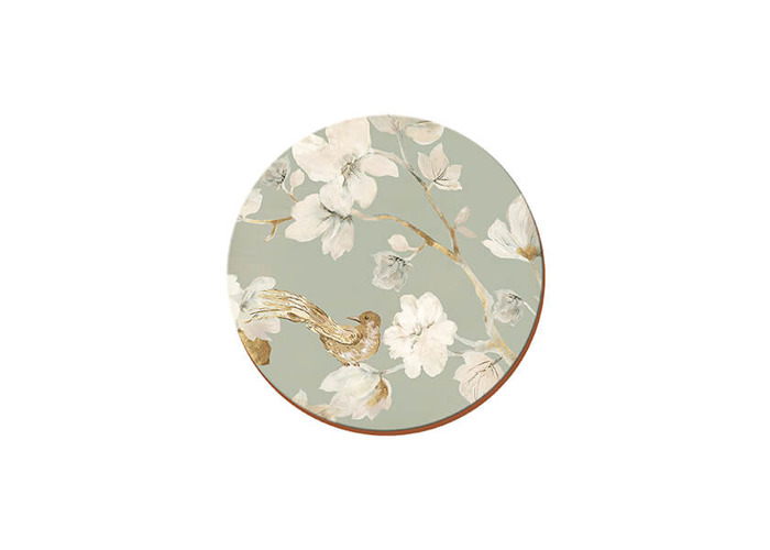 Creative Tops Duck Egg Floral Bird Cork-Back Premium Round Placemats, Set of 4 - 1