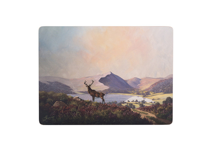 Creative Tops Large Highland Stag Premium Cork-Backed Placemats, Set of 4 - 1