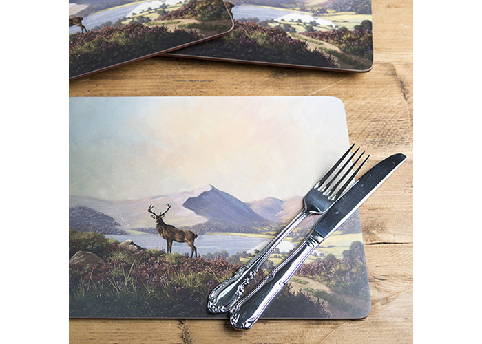Creative Tops Large Highland Stag Premium Cork-Backed Placemats, Set of 4 - 2