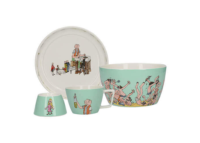 Creative Tops Roald Dahl BFG Children's Stackable Ceramic Breakfast Set - Turquoise (4 Pieces) - 1