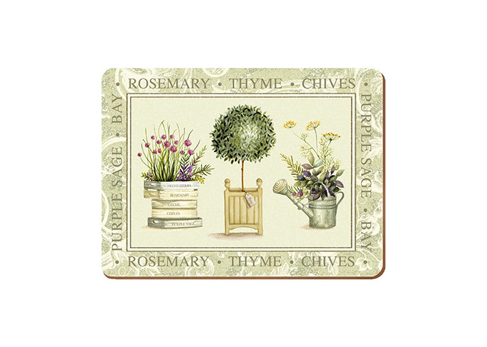 Creative Tops Topiary Cork Back Placemats, Green, 6-Piece - 1