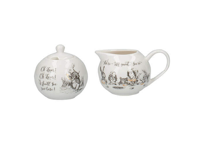 Creative Tops V&A Alice in Wonderland Fine China Milk Jug and Sugar Bowl Set with Decorative Illustrations (2 Pieces) - White - 1