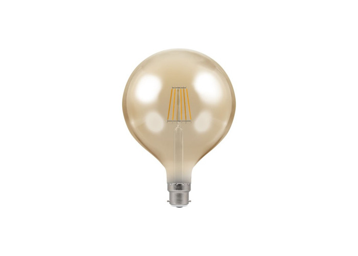 Crompton Antique Decorative LED 125mm Globe Filament Bulb, B22d, 7.5w, Dimmable, Amber Tinted Glass - 1