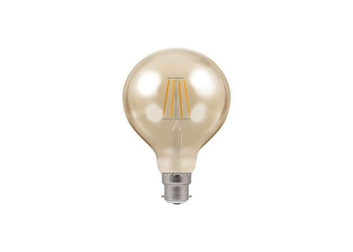 Crompton Antique Decorative LED 95mm Globe Filament Bulb, B22d, 5W, Dimmable, Amber Tinted Glass - 1