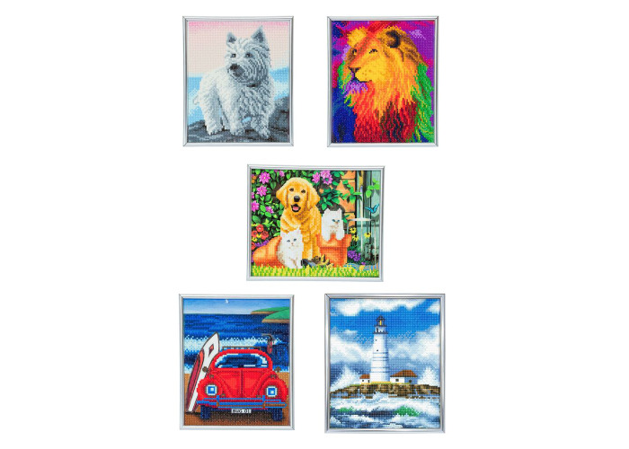 Crystal Art Picture Frame Kit with Silver Frame ~ 21cm x 25cm ~ Dog Car Cat