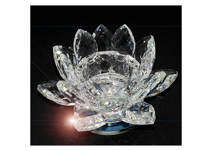 Crystal Glass Clear Lotus Flower Candle Tea Light Holder Spin with system & Gift box for New married Couple Gift - 1