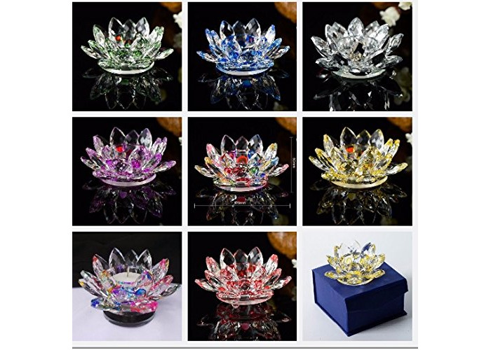 Crystal Glass Multi Lotus Flower Candle Tea Light Holder Spin system & Gift Box All Colours (Pink) - 1