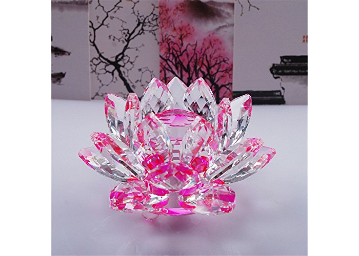 CRYSTAL LOTUS FLOWER ORNAMENT LARGE CRYSTOCRAFT HOME DECOR_ ALL COLOURS FREE P&P (Pink) - 1