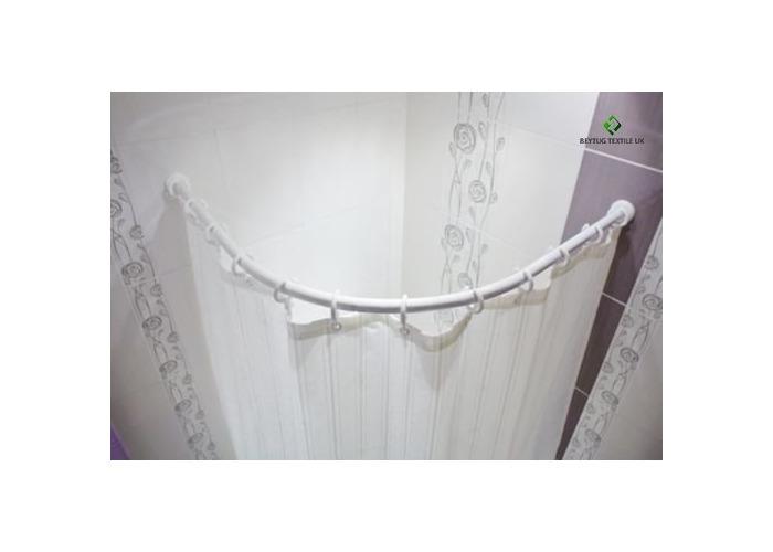 Curved White Bath Shower Curtain Rod Rail 130 x 130cm 27mm diameter tube - 1