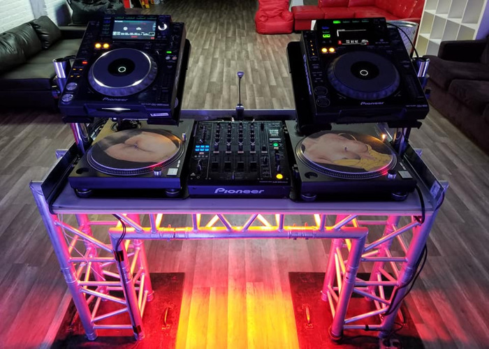 CUSTOM DJ BOOTH - Industrial Metal Trussl Style with LEDS - 1