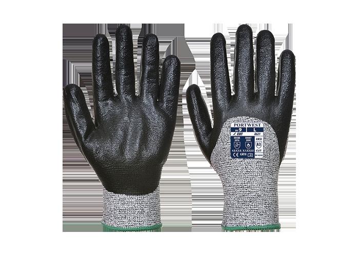Cut Nitrile Foam Glove  Black  Small  R - 1