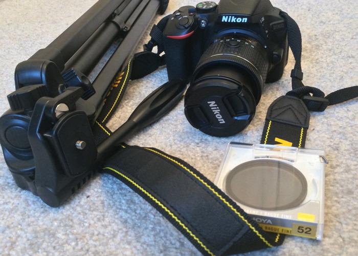 Nikon D5600 Camera with Circular polariser, Tripod, 18-55mm Lens - 1