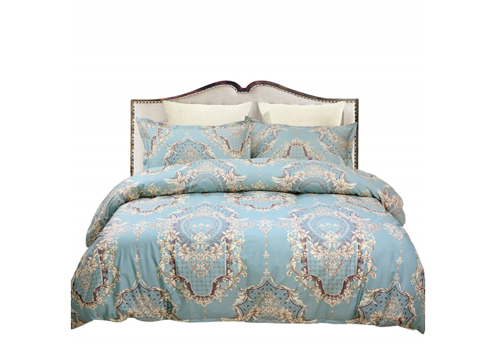 Damask Bedding Set 800 Thread Count 100% Cotton Double Size Blue Turquoise and 3 - 1