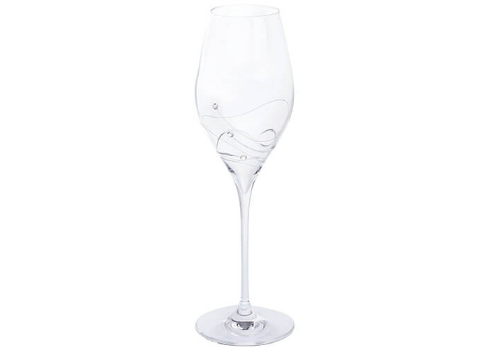 Dartington Crystal Glitz Prosecco Glasses, Crystal, Clear, Pack of 2 - 2