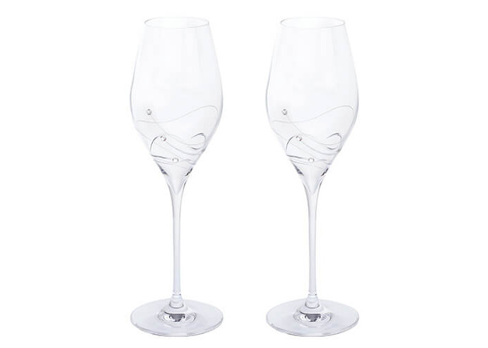 Dartington Crystal Glitz Prosecco Glasses, Crystal, Clear, Pack of 2 - 1
