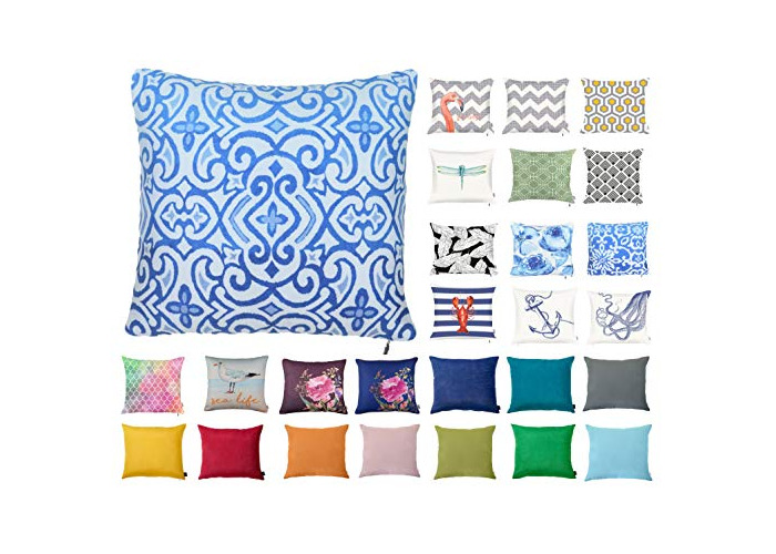 "Decorative Square Pillow Case Throw Cushion Cover for Sofa Bedroom with Invisible Zipper, 45x45cm (18x18"") Blue Scroll - 1"