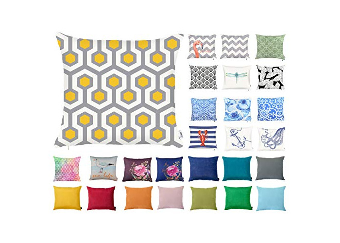 "Decorative Square Pillow Case Throw Cushion Cover for Sofa Bedroom with Invisible Zipper, 45x45cm (18x18"") Hexagon Geometric - 1"