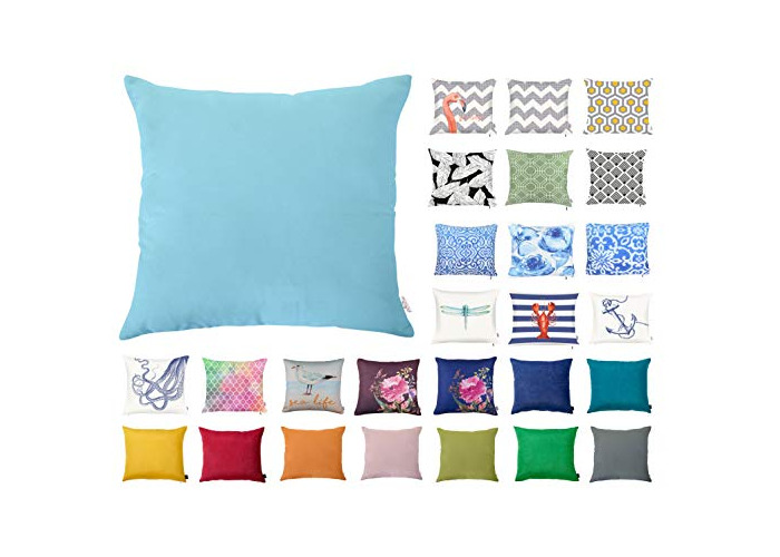 """Decorative Square Pillow Case Throw Cushion Cover for Sofa Bedroom with Invisible Zipper, 45x45cm (18x18"""") Light Blue - 1"""