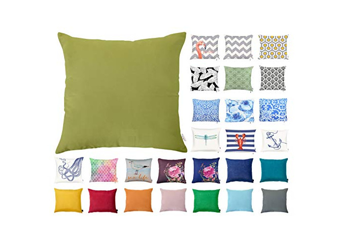 """Decorative Square Pillow Case Throw Cushion Cover for Sofa Bedroom with Invisible Zipper, 45x45cm (18x18"""") Lime - 1"""