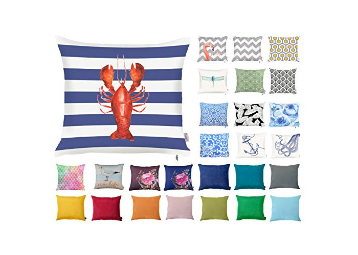"Decorative Square Pillow Case Throw Cushion Cover for Sofa Bedroom with Invisible Zipper, 45x45cm (18x18"") Lobster - 1"