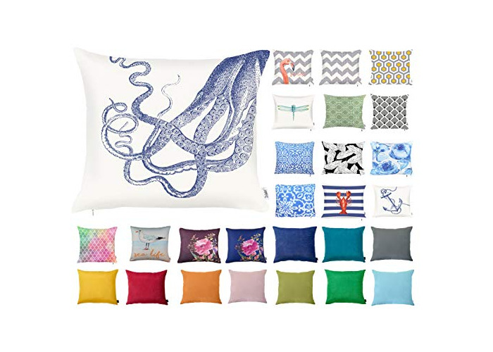 "Decorative Square Pillow Case Throw Cushion Cover for Sofa Bedroom with Invisible Zipper, 45x45cm (18x18"") Octopus - 1"