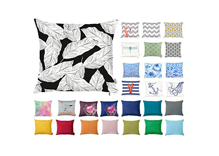 "Decorative Square Pillow Case Throw Cushion Cover for Sofa Bedroom with Invisible Zipper, 45x45cm (18x18"") Tropical Leaves - 1"