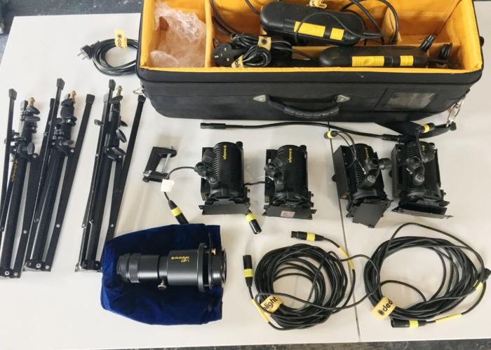 Dedolight DLH4 150w Kit x4 inc DP1 Projector attachment - 2