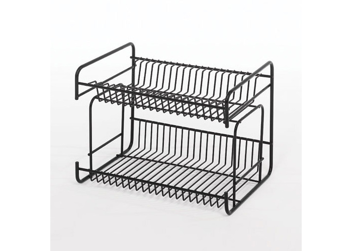 Delfinware 2 Tier Small Plate Rack, White - 1