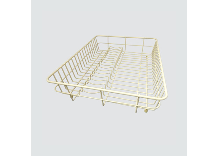 Delfinware Large Flat Dish Drainer Rack with Cutlery Tray in Cream 2100CRM - 1